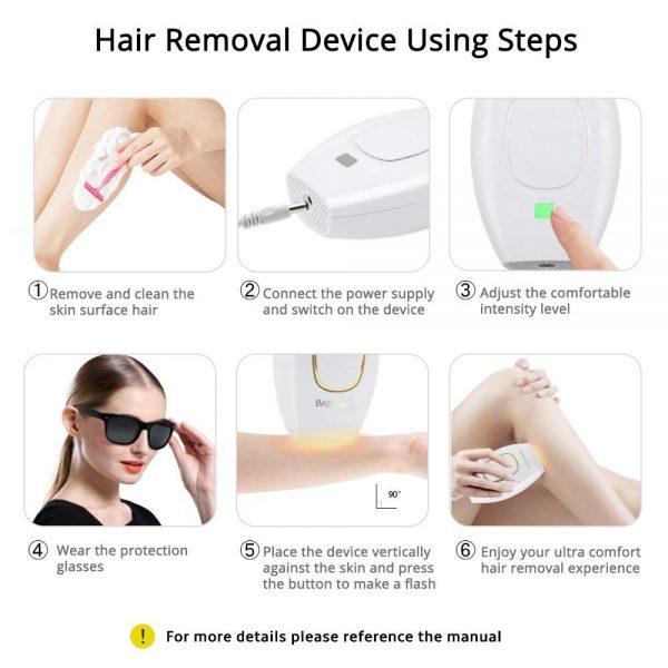 Home Hold Depilatory Laser Mini Hair Epilator Permanent Hair Removal IPL System 500000 Shot Light Pulses Whole Body Hair Remover