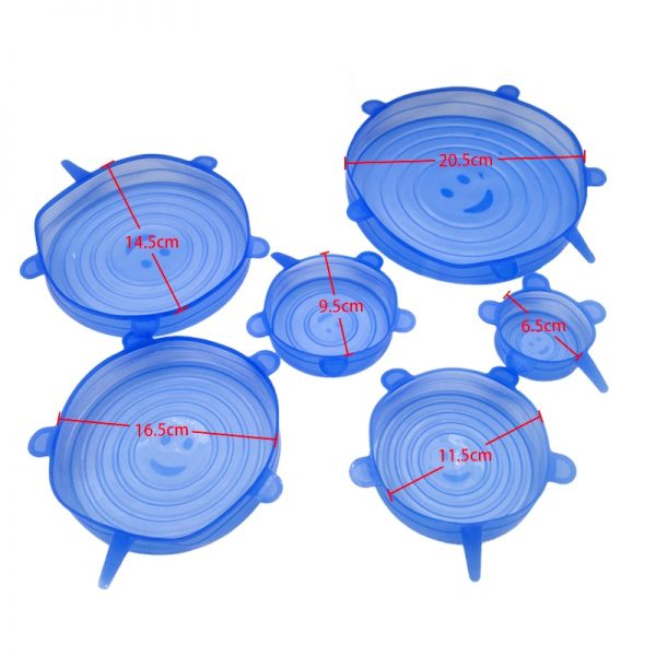 6/12pcs Silicone Stretch Lids Universal Lid Silicone Bowl Pot Lid Silicone Cover Pan Cooking Food Fresh Cover Microwave Cover