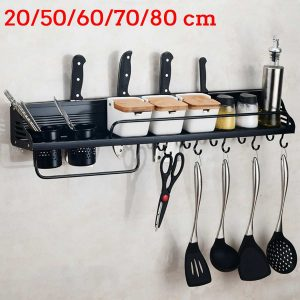 Wall-Mount Spice Racks Aluminum Kitchen Organizer Storage Shelves Utensil Spoon Hanger Hook Kitchen Gadgets Accessories Supplies