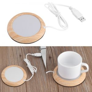 USB Warmer Cup-Pad Gadget Wood Grain Coffee Tea Drink USB Heater Tray Mug Pad Coaster Office Gift